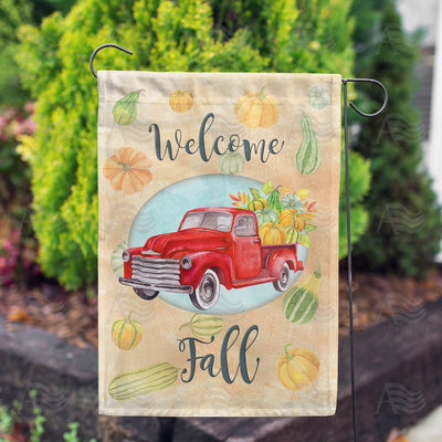 Welcome Fall Red Truck Double Sided Garden Flag