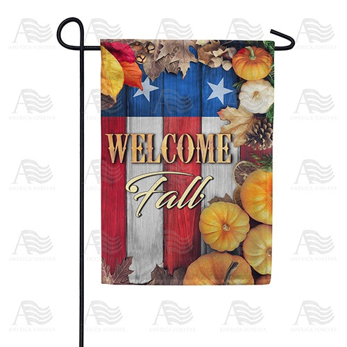 Stars And Stripes Fall Welcome Double Sided Garden Flag