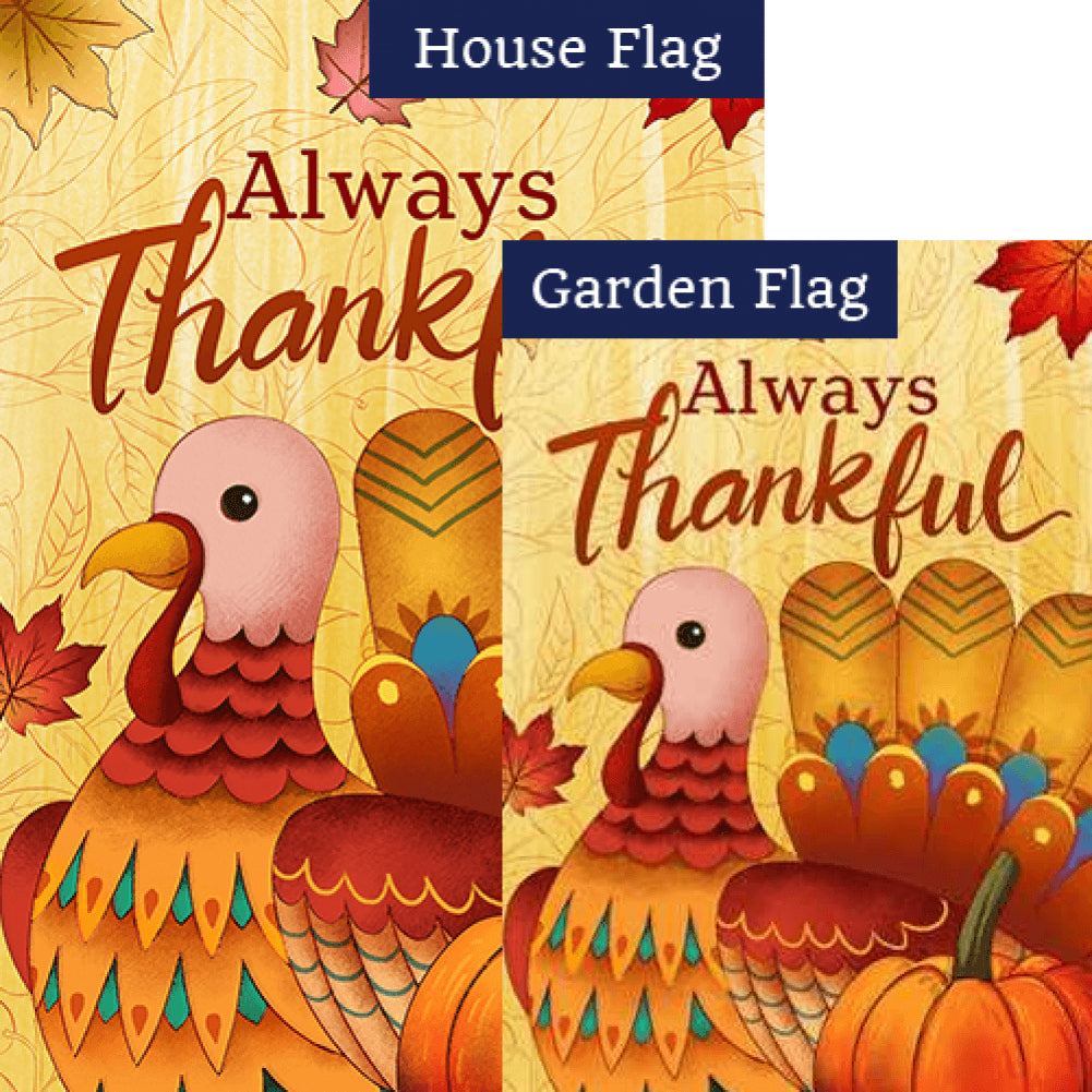 Always Thankful Turkey Flags Set (2 Pieces)