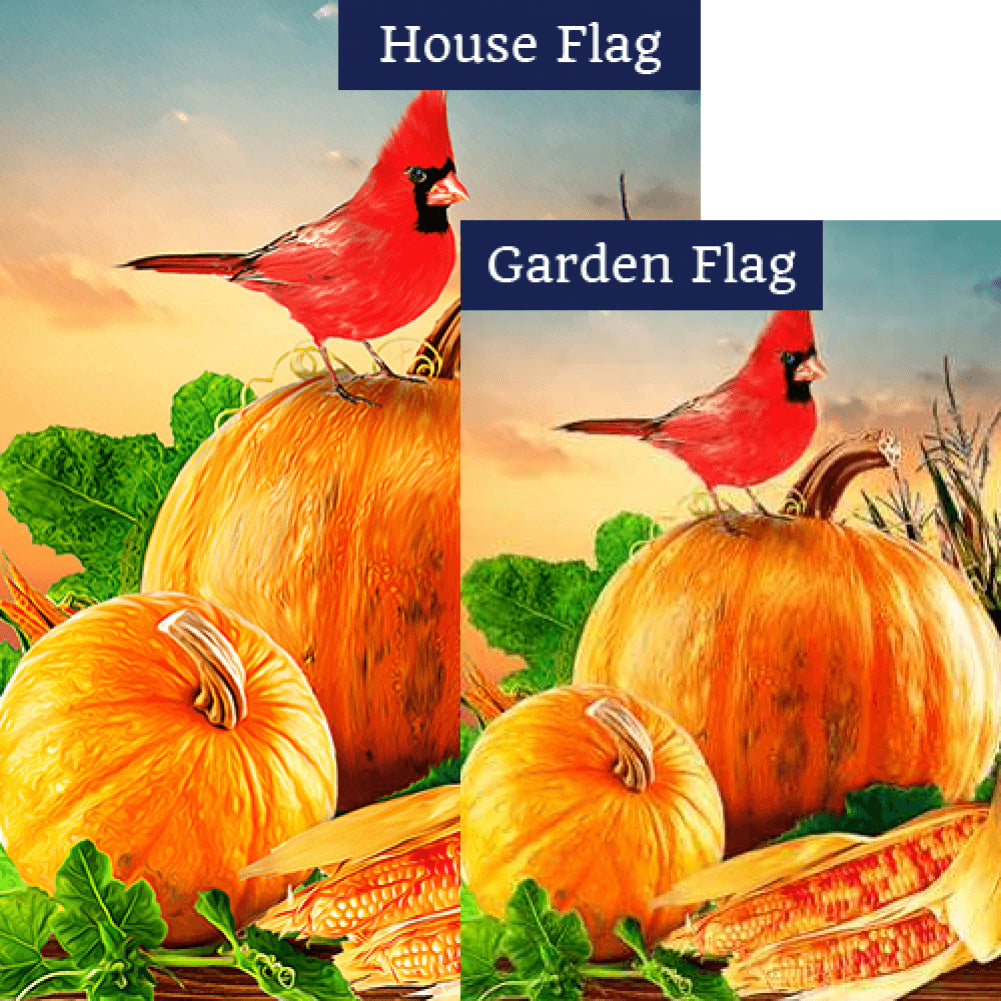 Cardinal On Pumpkin Flags Set (2 Pieces)