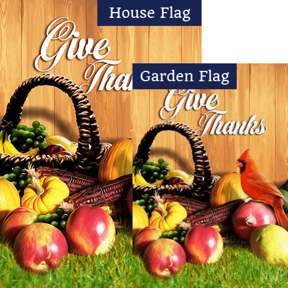 Give Thanks Cardinal Flags Set (2 Pieces)