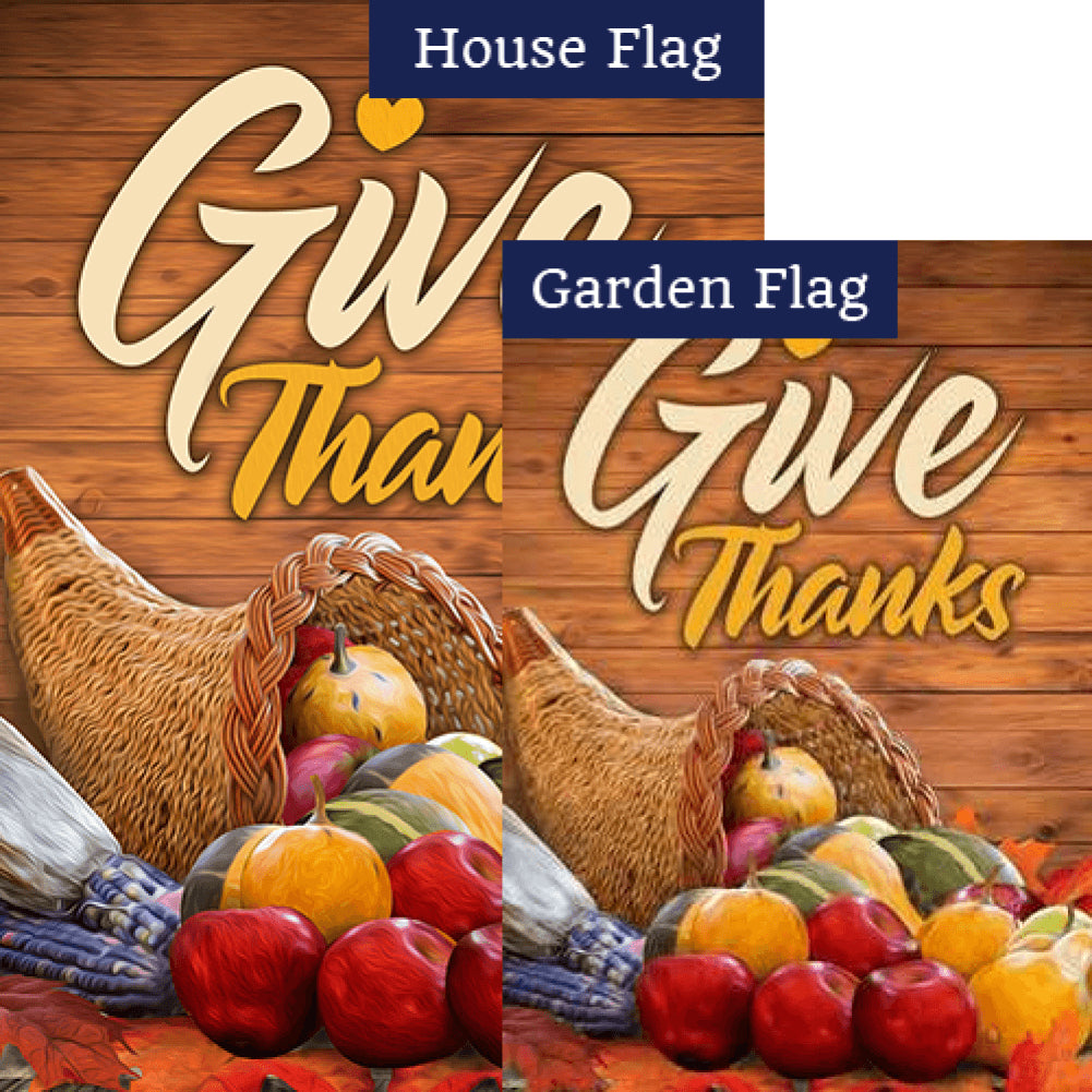 Horn Of Plenty Thanksgiving Flags Set (2 Pieces)