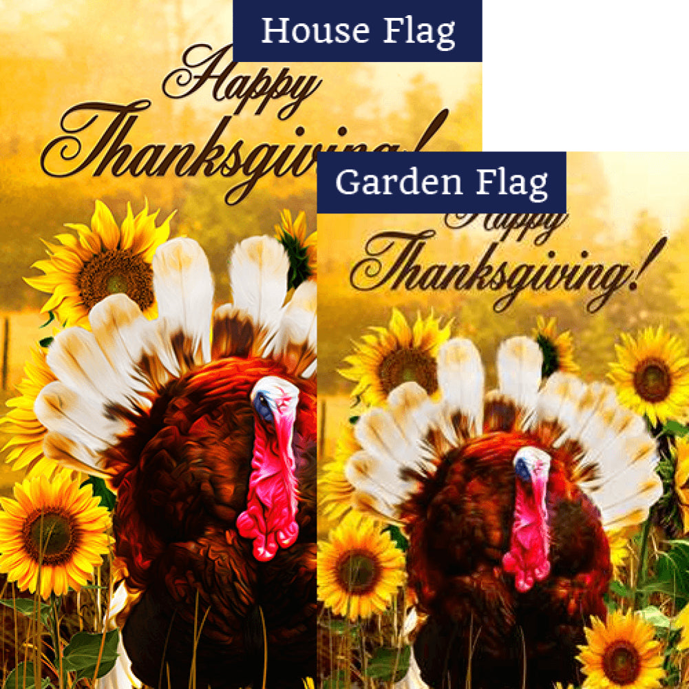 Turkey In Sunflowers Flags Set (2 Pieces)