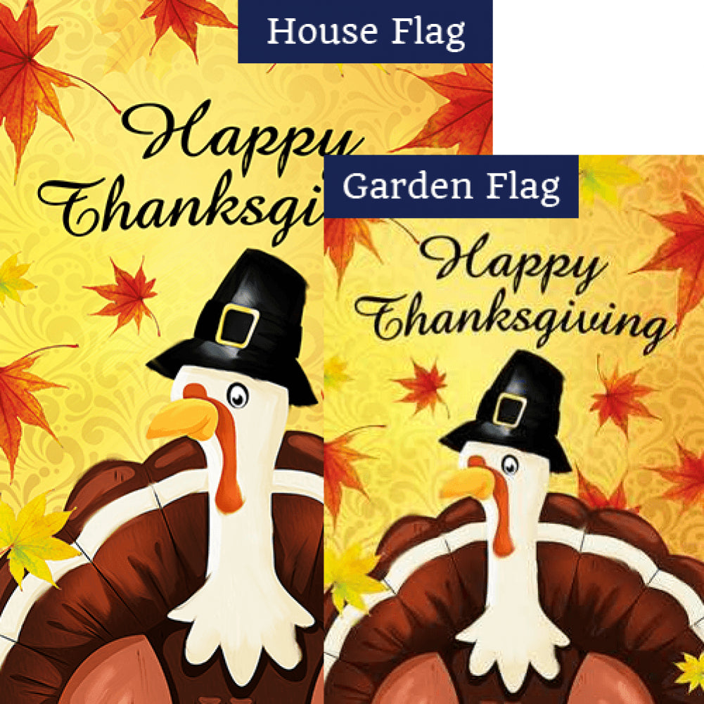 Pilgrim Turkey Thanksgiving Flags Set (2 Pieces)