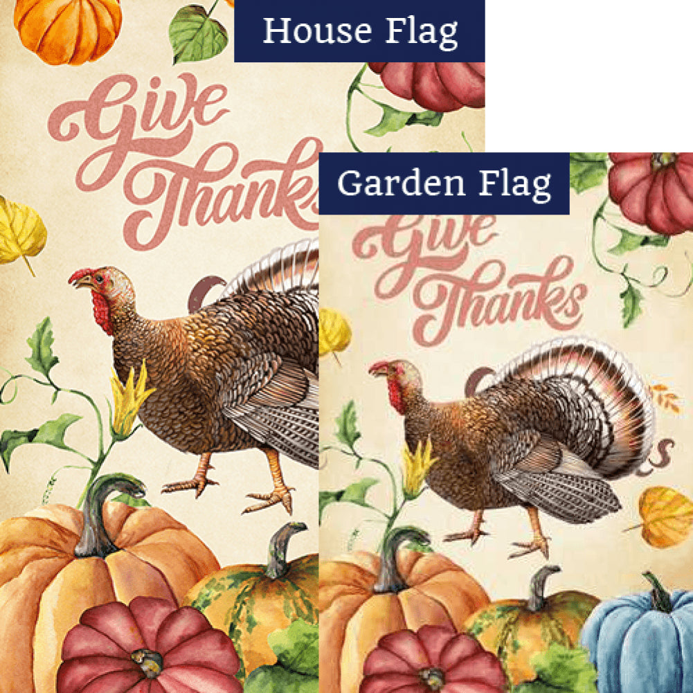 Give Thanks Watercolor Flags Set (2 Pieces)