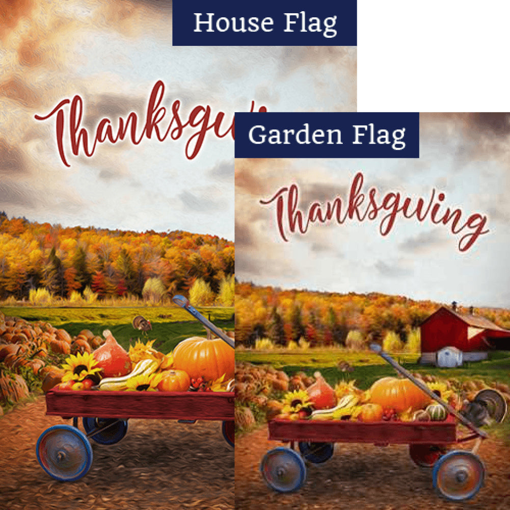 Small Wagon Of Gourds Flags Set (2 Pieces)