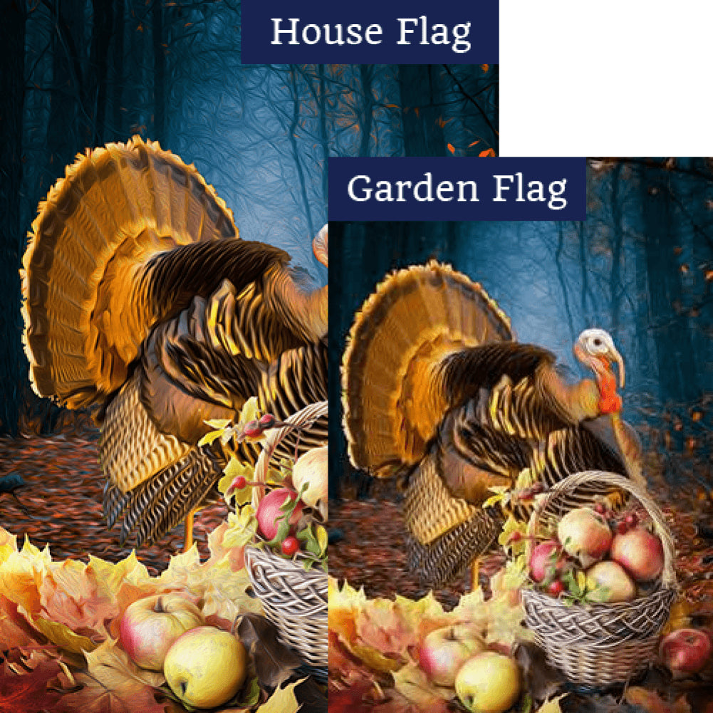 Turkey And Apple Basket Flags Set (2 Pieces)
