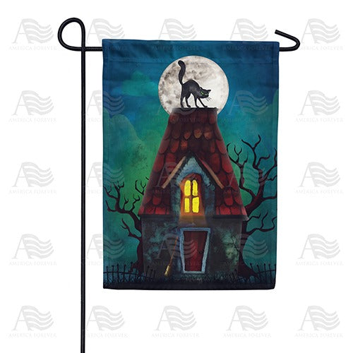 The Witch's Cat Double Sided Garden Flag
