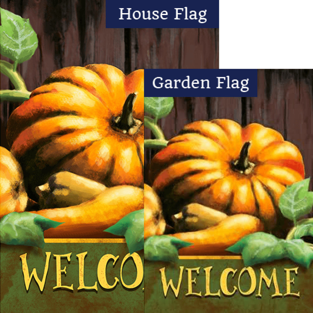 Pumpkin Welcome Double Sided Flags Set (2 Pieces)