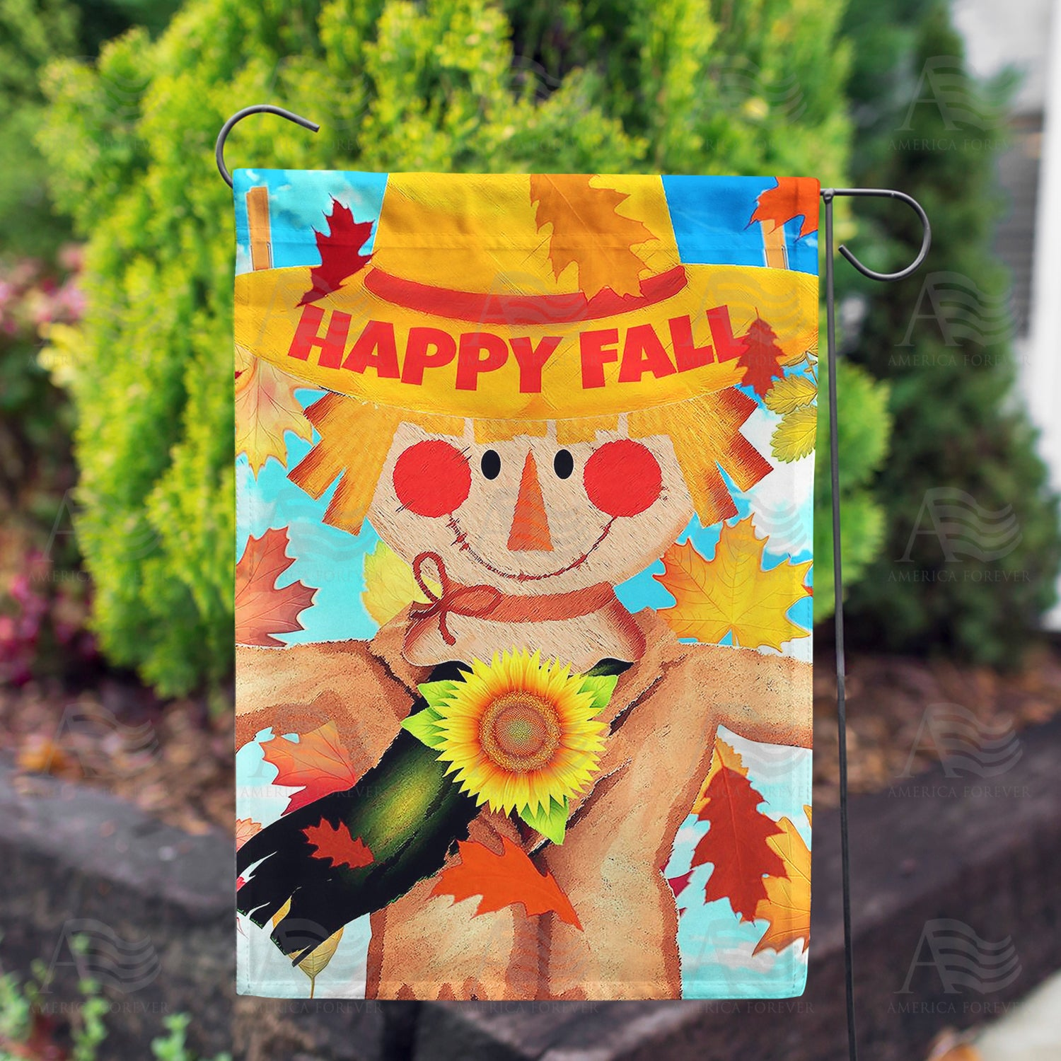 America Forever Happy Fall Smiling Scarecrow Double Sided Flags Set 2 Flagsrus Org
