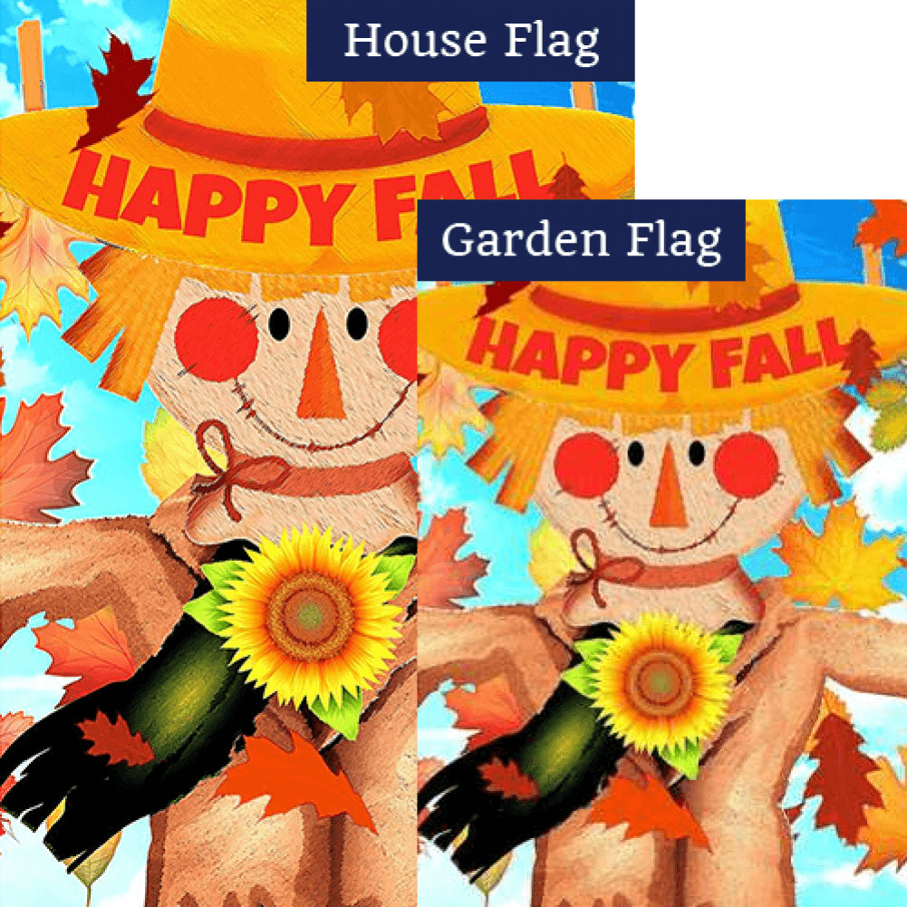 Happy Fall Smiling Scarecrow Double Sided Flags Set (2 Pieces)