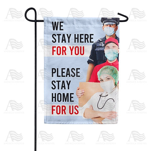 Help Us By Staying Home Double Sided Garden Flag
