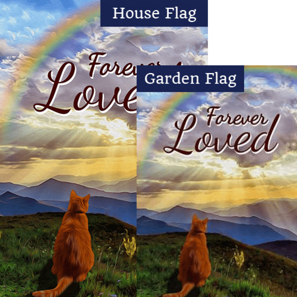 Cat Crossed Over Rainbow Bridge Flags Set (2 Pieces)