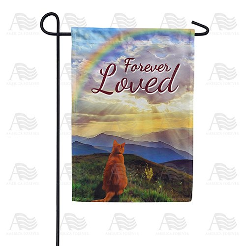 Cat Crossed Over Rainbow Bridge Double Sided Garden Flag