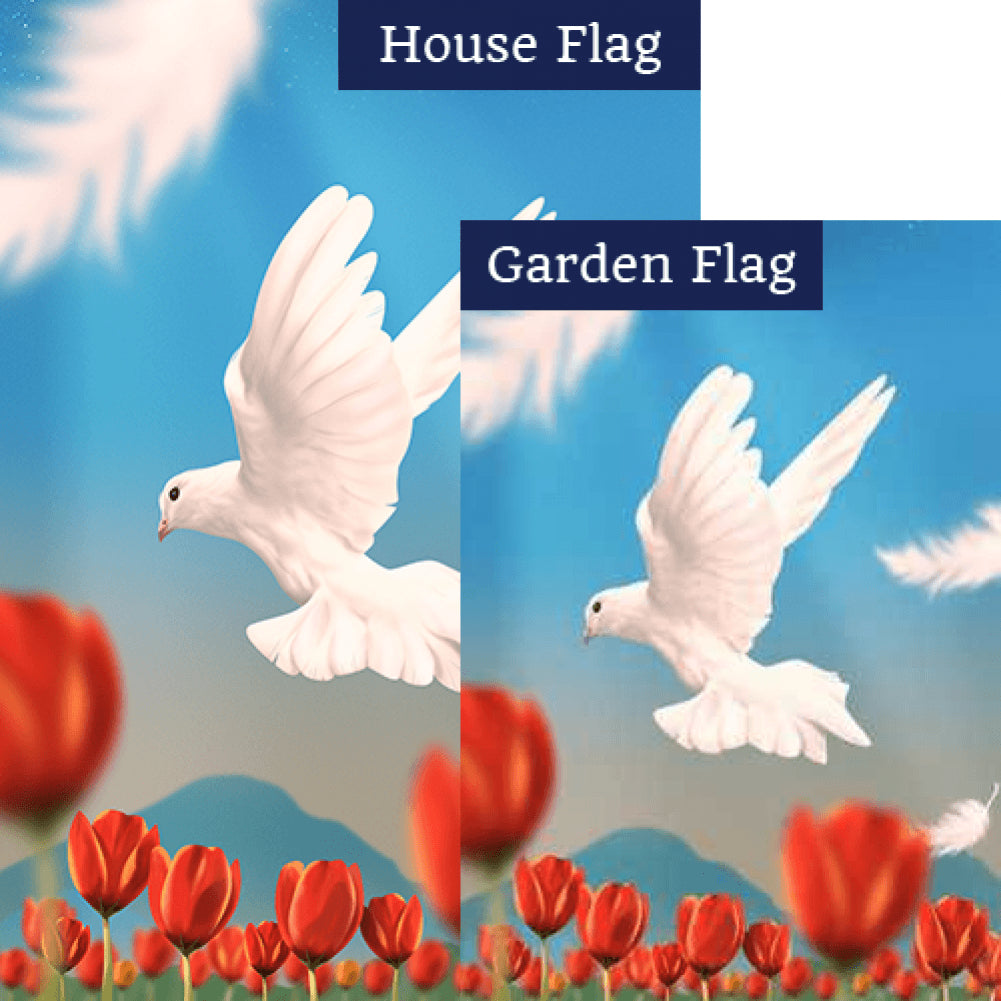 On The Wings Of A Snow White Dove Flags Set (2 Pieces)