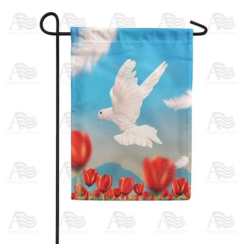 On The Wings Of A Snow White Dove Double Sided Garden Flag