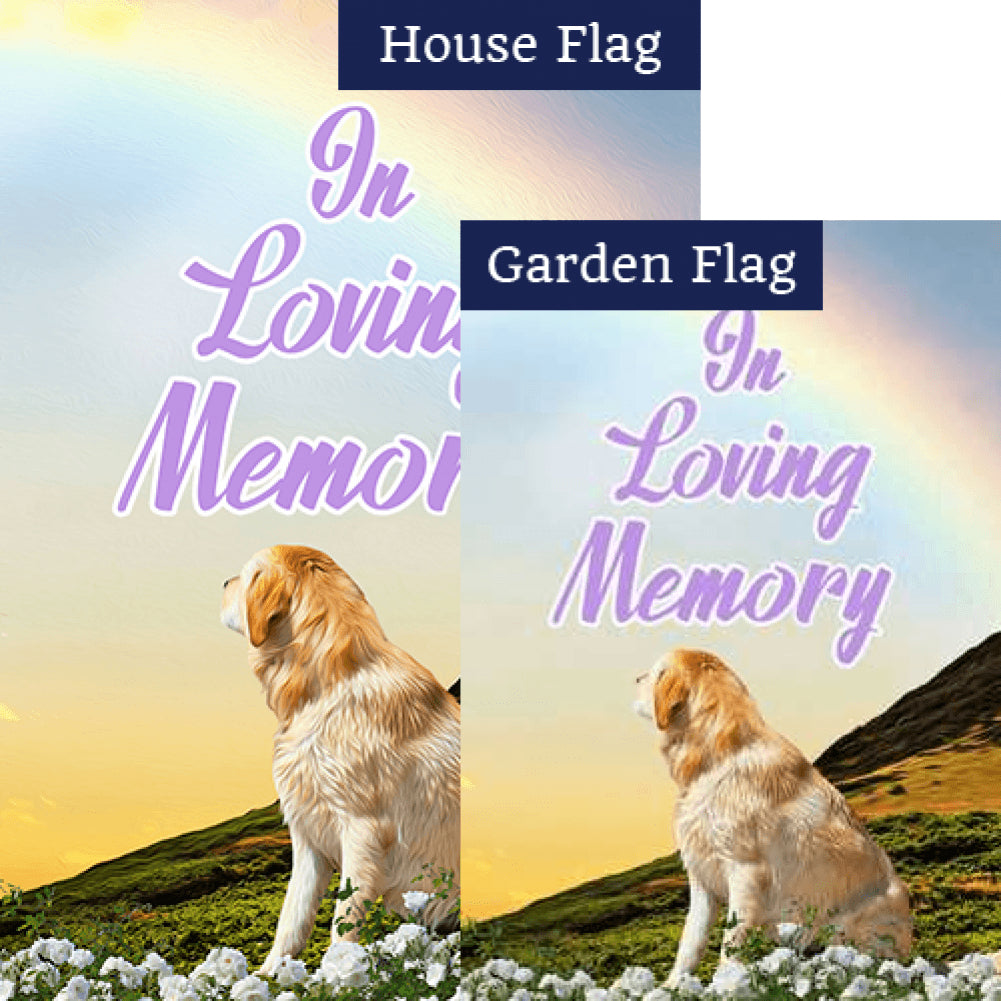 Dog Crossed Over Rainbow Bridge Flags Set (2 Pieces)