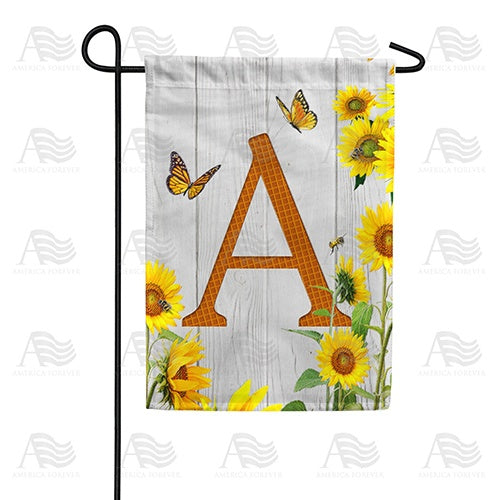 Country Sunflowers Monogram Double Sided Garden Flag