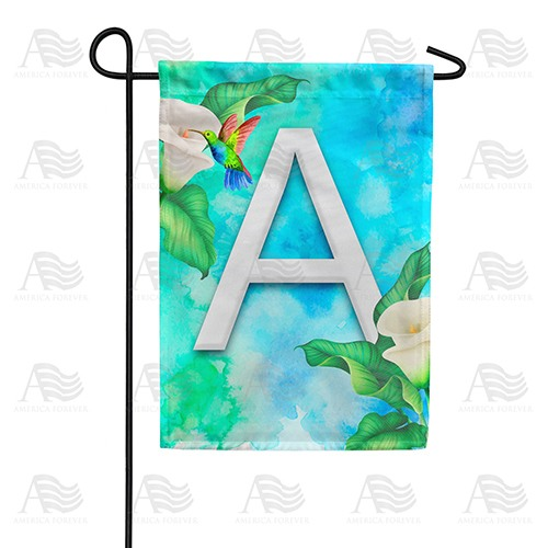 Hummingbird At Lily Monogram Double Sided Garden Flag