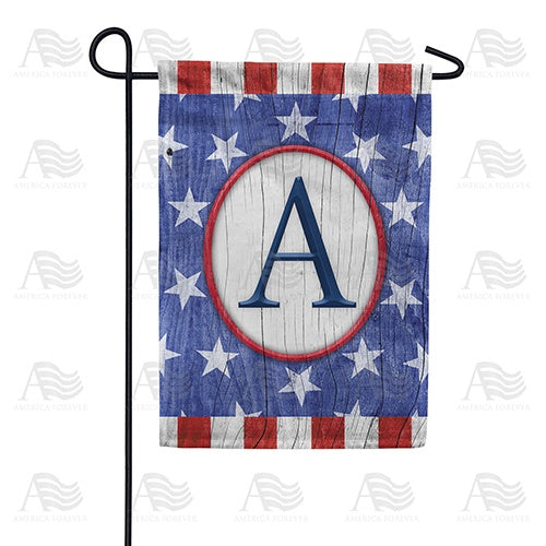 All American Old Wood Monogram Double Sided Garden Flag
