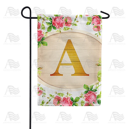 Country Roses Monogram Double Sided Garden Flag
