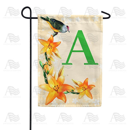 Orange Lilies Monogram Double Sided Garden Flag