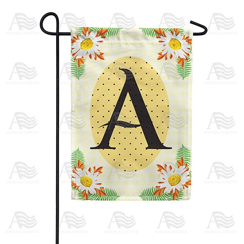 Yellow Gingham Daisies Monogram Double Sided Garden Flag