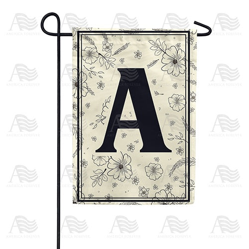 Flower Sketchings Monogram Double Sided Garden Flag