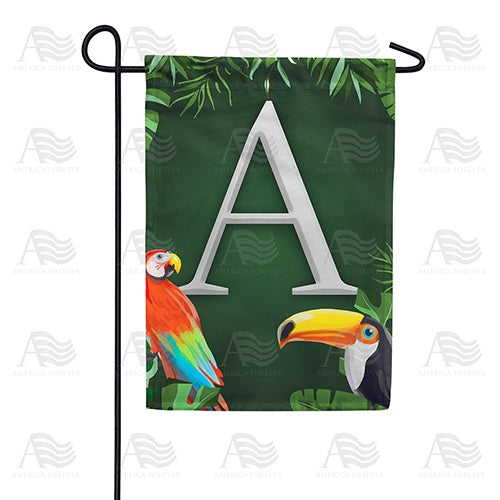 Tropical Birds Monogram Double Sided Garden Flag