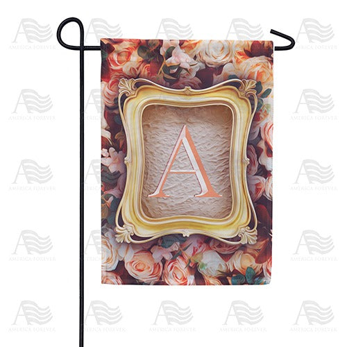 Antique Gold Frame Monogram Double Sided Garden Flag