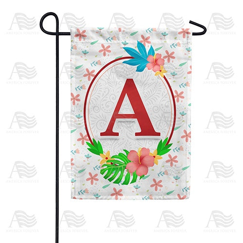 Periwinkle Petals Monogram Double Sided Garden Flag