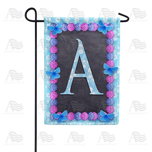 Blue And Purple Hydrangea Monogram Double Sided Garden Flag