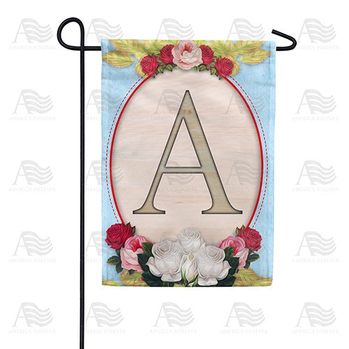 Rose Wood Monogram Double Sided Garden Flag