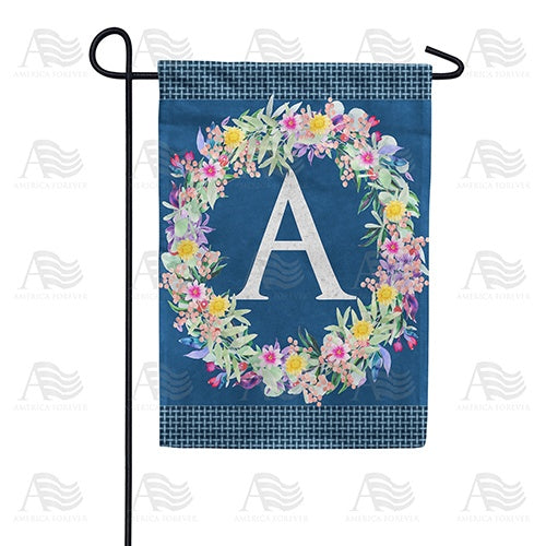 Floral Wreath Monogram Letter Monogram Double Sided Garden Flag