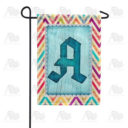 Multi Color Chevron Monogram Double Sided Garden Flag