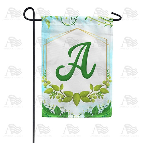 Rose Greenery Monogram Double Sided Garden Flag