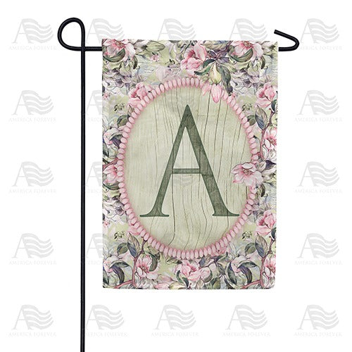 Pink Petals Monogram Double Sided Garden Flag