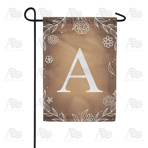 Bronze Floral Monogram Double Sided Garden Flag