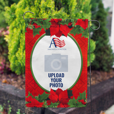 Personalized Red Poinsettia Garden Flag