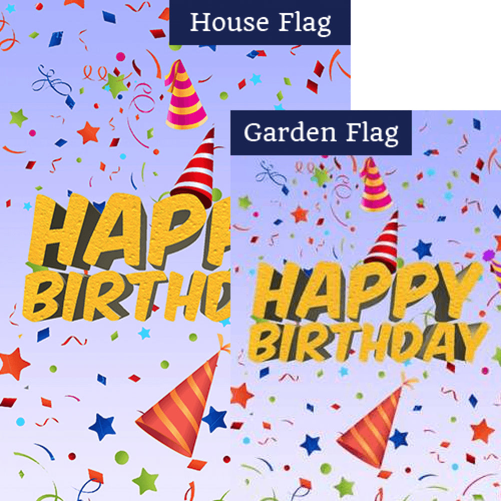 Happy Birthday Surprise Double Sided Flags Set (2 Pieces)