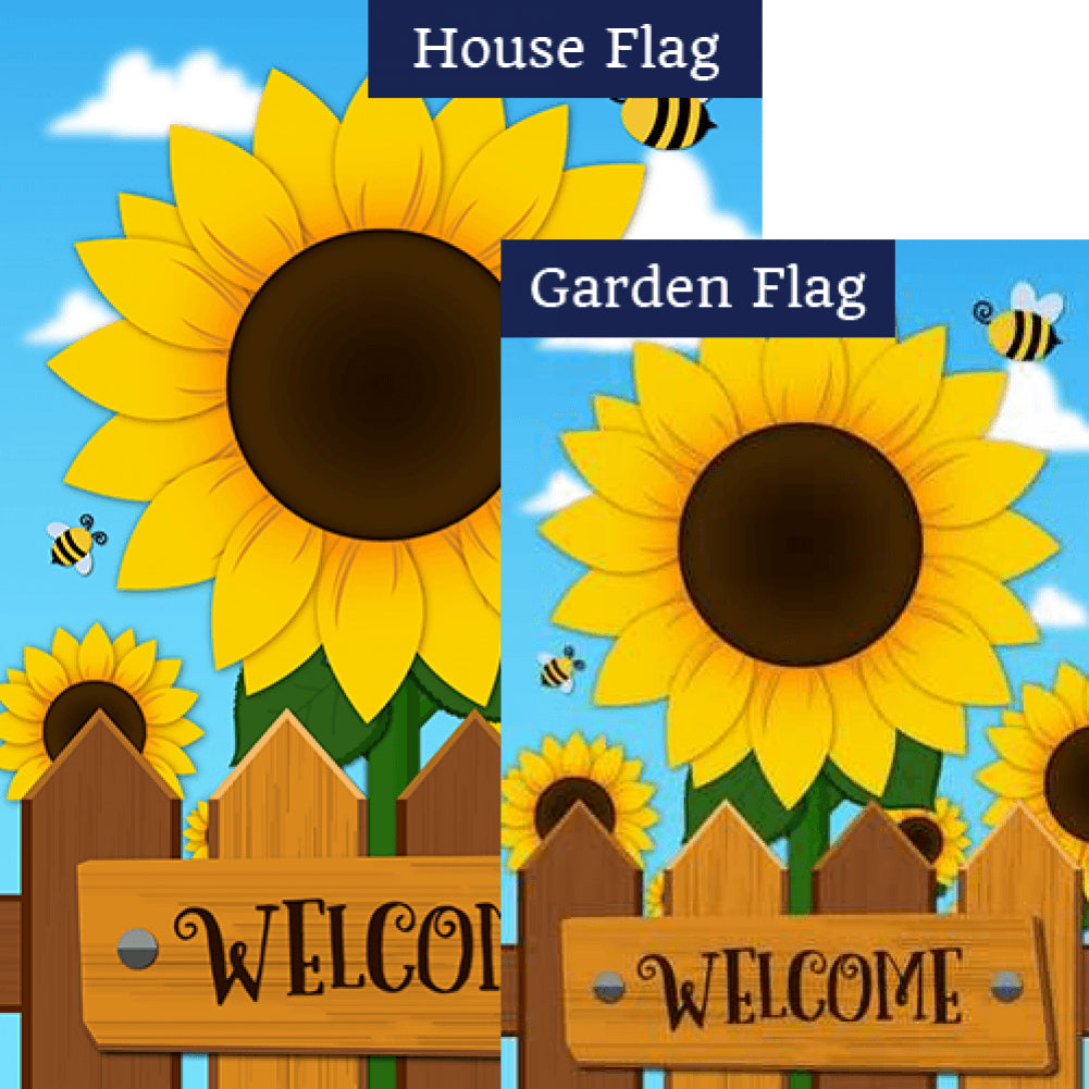 Sunflower Welcome Double Sided Flags Set (2 Pieces)