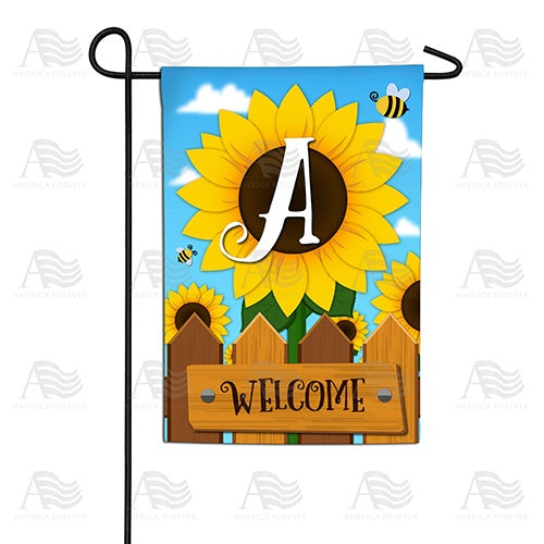 Sunflower Welcome Monogram Double Sided Garden Flag