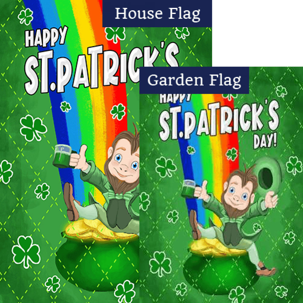 Leprechaun Rainbow Double Sided Flags Set (2 Pieces)