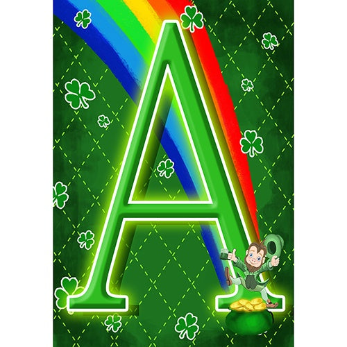 Leprechaun Rainbow Monogram Garden Flag
