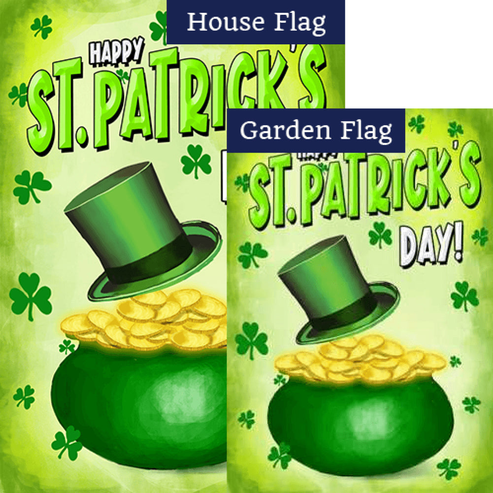 St. Patty's Pot O' Gold Double Sided Flags Set (2 Pieces)