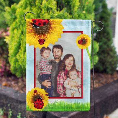 Personalized Ladybugs and Sunflowers Garden Flag