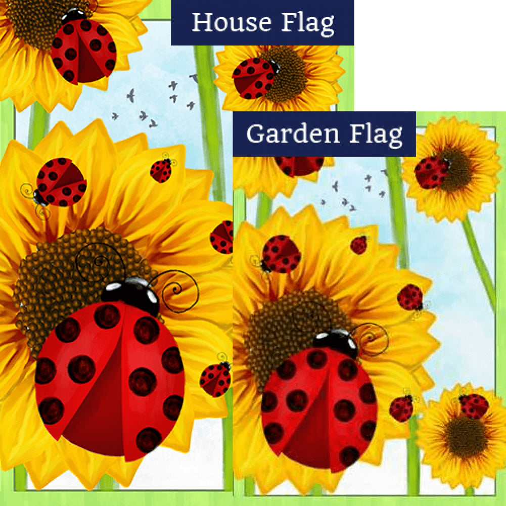 Ladybugs and Sunflowers Double Sided Flags Set (2 Pieces)