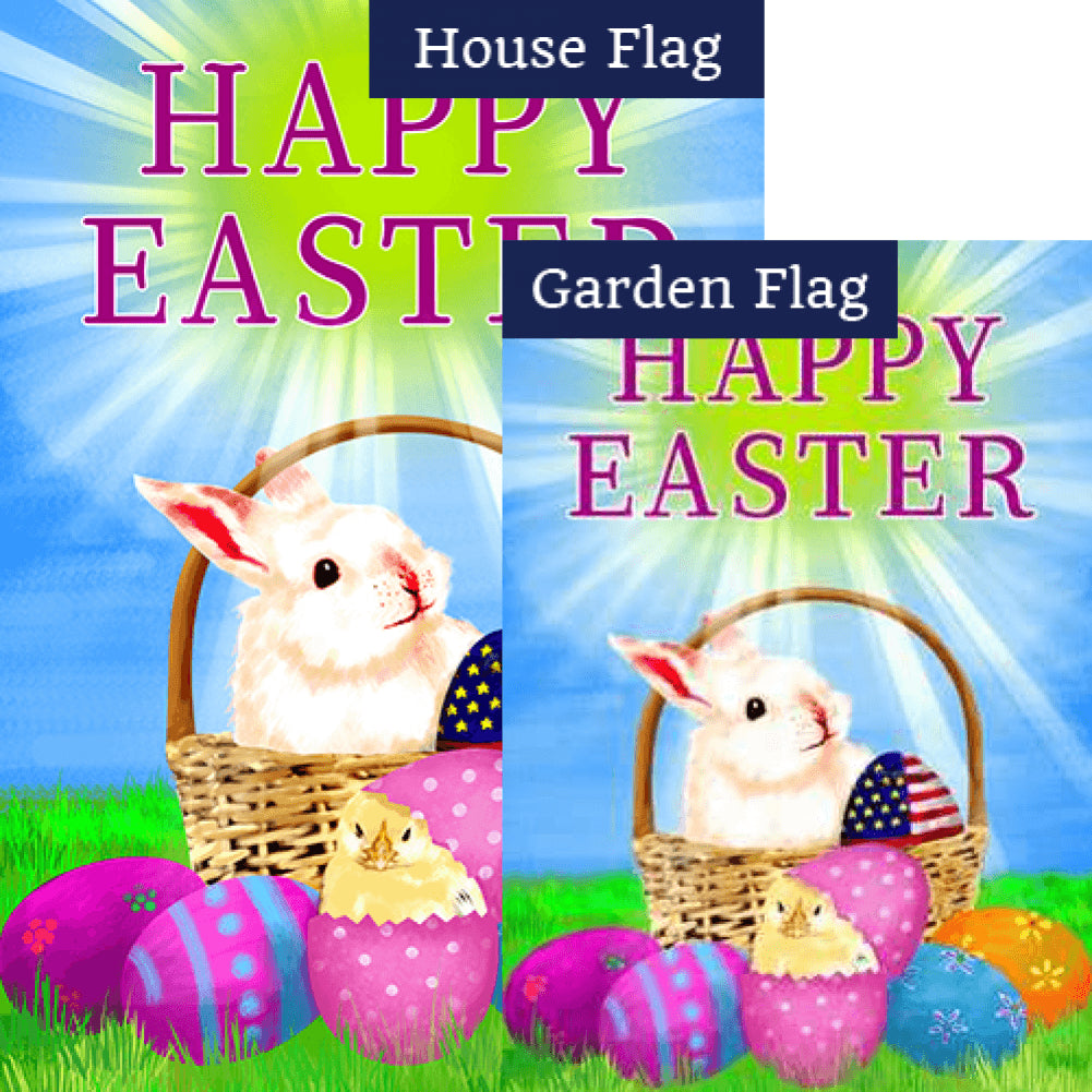 Happy Easter America Double Sided Flags Set (2 Pieces)