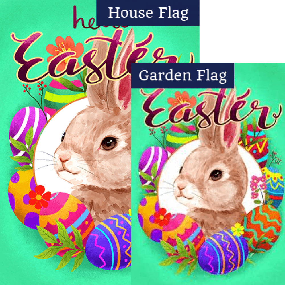 Watercolor Hello Easter Bunny Double Sided Flags Set (2 Pieces)