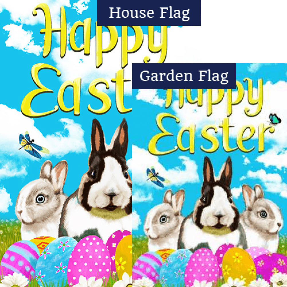 Happy Easter Bunny Friends Double Sided Flags Set (2 Pieces)